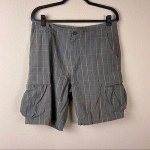 PATAGONIA Gray Plaid Shorts 33 Blue Organic Cotton